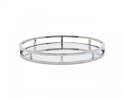 lux round stainless steel mirror tray - Home Decor Vancouver