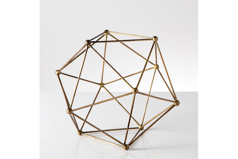 polygon antique brass decor ball medium - Home Decor Vancouver